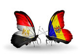 Butterflies with Egypt and Moldova flags on wings — Foto Stock