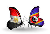 Butterflies with Egypt and Swaziland flags on wings — Stockfoto