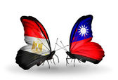 Butterflies with Egypt and Taiwan flags on wings — Стоковое фото