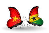 Butterflies with Vietnam and Ghana flags on wings — Стоковое фото