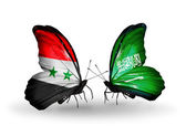Butterflies with Syria and Saudi Arabia flags on wings — Stockfoto