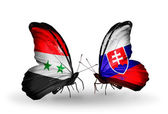 Butterflies with Syria and Slovakia flags on wings — ストック写真