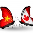 Two butterflies with flags of Vietnam and Canada — Stock Photo