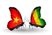Two butterflies with flags  of  Vietnam and Guinea — Photo
