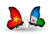 Two butterflies with flags  of Vietnam and Djibouti — Foto Stock