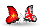 Two butterflies with flags  of Vietnam and Georgia — Photo