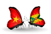 Two butterflies with flags  of  Vietnam and Grenada — Photo