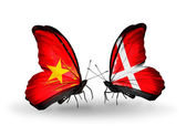 Two butterflies with flags  of Vietnam and Denmark — Stock Photo