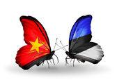 Dos mariposas con banderas de vietnam y estonia — Foto de Stock