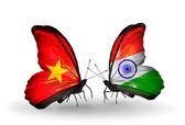Dva motýli s příznaky Vietnamu a Indie — Stock fotografie