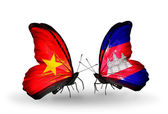 Two butterflies with flags  of Vietnam and  Cambodia — Stock Photo
