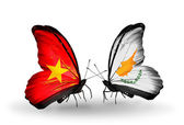 Two butterflies with flags  of Vietnam and Cyprus — Stock Photo