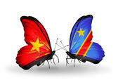 Two butterflies with flags  of Vietnam and Kongo — Foto Stock