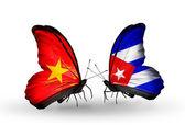 Duas borboletas com bandeiras do vietnã e cuba — Fotografia Stock