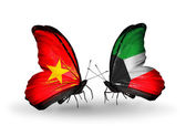Two butterflies with flags  of  Vietnam and Kuwait — Stock Photo