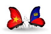 Two butterflies with flags  of Vietnam and Liechtenstein — Stock Photo