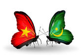 Two butterflies with flags  of Vietnam and Mauritania — Stock Photo