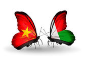 Two butterflies with flags  of Vietnam and Madagascar — Foto Stock