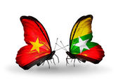 Two butterflies with flags  of  Vietnam and Myanmar — Foto Stock