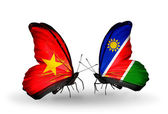 Two butterflies with flags  of Vietnam and Namibia — Foto Stock