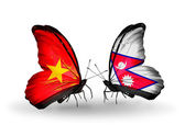 Two butterflies with flags  of  Vietnam and Nepal — Foto Stock