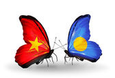 Two butterflies with flags  of Vietnam and Palau — Stock Photo