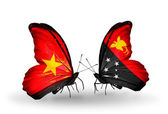 Two butterflies with flags  of Vietnam and Papua New Guinea — Photo