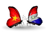Two butterflies with flags  of  Vietnam and Paraguay — Foto Stock
