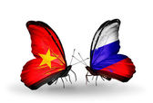 Two butterflies with flags  of Vietnam and Russia — Stockfoto