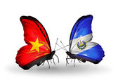 Two butterflies with flags  of  Vietnam and Salvador — Foto Stock