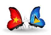 Two butterflies with flags  of Vietnam and Saint Lucia — Stock Photo