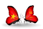 Two butterflies with flags  of  Vietnam and Soviet Union — Stockfoto