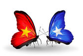 Two butterflies with flags  of  Vietnam and Somalia — Foto Stock