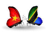Two butterflies with flags  of  Vietnam and Tanzania — Foto de Stock