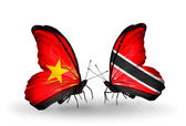 Two butterflies with flags  of  Vietnam and Trinidad and Tobago — Foto Stock