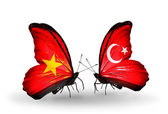 Two butterflies with flags  of Vietnam and  Turkey — Foto Stock