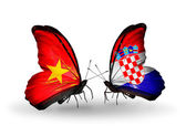 Two butterflies with flags  of Vietnam and Croatia — Stock Photo