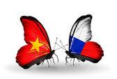 Dos mariposas con banderas de vietnam y checa — Foto de Stock