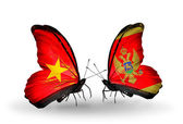 Two butterflies with flags  of  Vietnam and Montenegro — Stock Photo