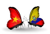 Two butterflies with flags  of  Vietnam and Ecuador — Foto Stock
