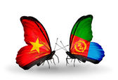 Two butterflies with flags  of Vietnam and Eritrea — Stock Photo