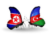 Two butterflies with flags  of  North Korea and Azerbaijan — Photo