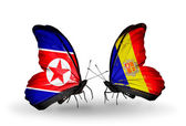 Two butterflies with flags  of   North Korea and Andorra — Photo