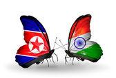 Mariposas con Corea del norte y la india banderas en las alas — Foto de Stock