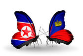 Butterflies with North Korea and Liechtenstein flags on wings — Photo