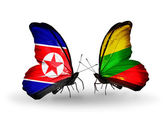 Butterflies with North Korea and  flags on wings — Photo