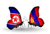 Butterflies with North Korea and Mongolia flags on wings — Photo