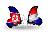 Butterflies with North Korea and Holland flags on wings — Stock Photo