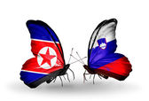 Butterflies with North Korea and Slovenia flags on wings — Stock Photo