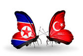 Butterflies with North Korea and Turkey flags on wings — Foto Stock